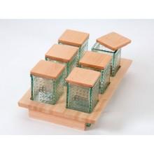 Módulo de 300 mm. con 6 tarros de cristal y tapa madera