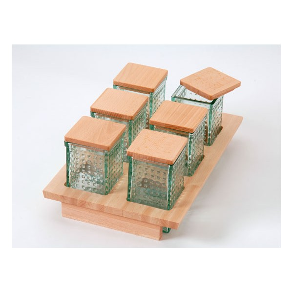 M dulo de 300 mm con 6 tarros de cristal y tapa madera - Tarros de cristal con tapa ...