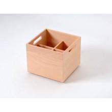 Caja de haya con botellero de 4 divisiones