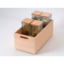 Caja de haya con botellero y 4 botes de cristal