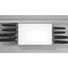 Portacuchillos 8 cuchillos en cristal óptico blanco y aluminio